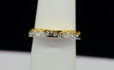 18K Yellow And White Gold Beautiful Band With Diamond Accents Ring Sz 7 Gold-100