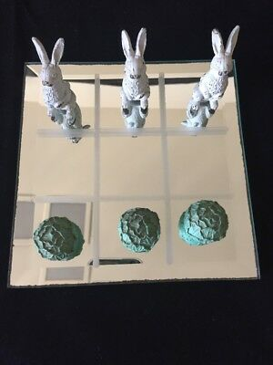 Pewter Rabbit & Cabbage Tic Tac Toe Game w/ Mirror Game Board-FREE Shipping USA