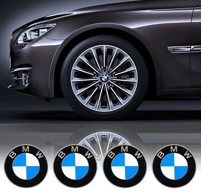 (4x) BMW Blue/White 68mm Wheel Center Cap Emblems Roundel Logo Sticker
