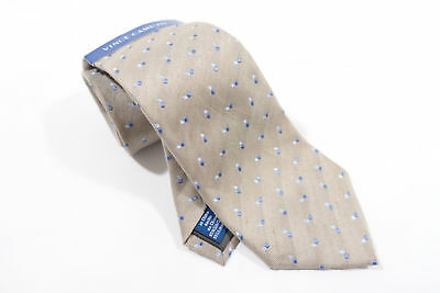 Vince Camuto Beige Dotted Blue Silk Linen 3 Inch Width Neck Tie Mens Nwt New