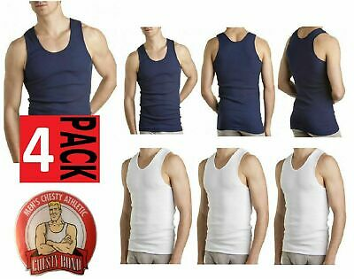 4 x BONDS CHESTY SINGLETS White Navy Undershirt Chestys Mens Sizes S - 5XL