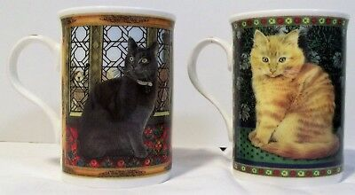 2 Ivory cats mugs, Pair of Lesley Anne Ivory porcelain cups, Crown Trent England