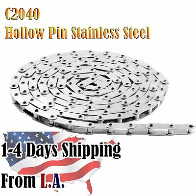 C2040HPSS Stainless Hollow Pin Conveyor Chain 10 Feet with 1 Connecting Link