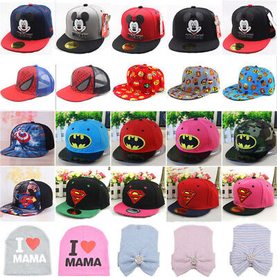 Kids Baby Boys Girls Cartoon Peaked Baseball Cap Snapback Sports Beanie Sun Hat