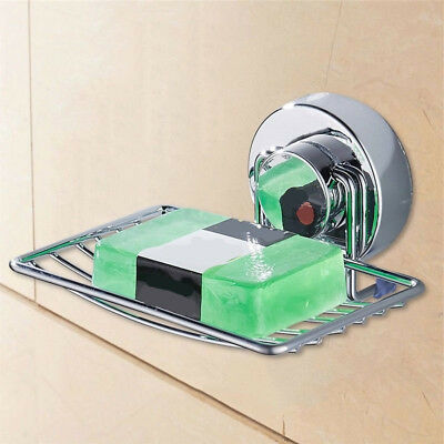 Stainless Steel Soap Holder Box Dish Strong Vacuum Suction Cup Soap Storage EU