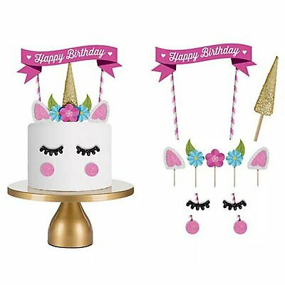 1 Set Unicorn Cake Topper Happy Birthday Candle Party Supplies Decor Tool DIY EU