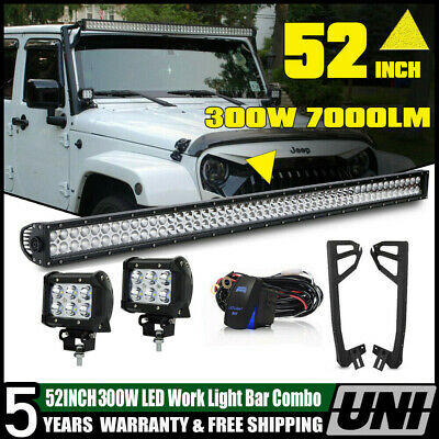 For Jeep Wrangler JK 52INCH 700W LED Work Light Bar+Mount Bracket+4 Pods Cube CA