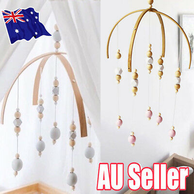 Baby Crib Mobile Bed Bell DIY Toy Holder Arm Bracket Wind-up Wooden Beads Gift S