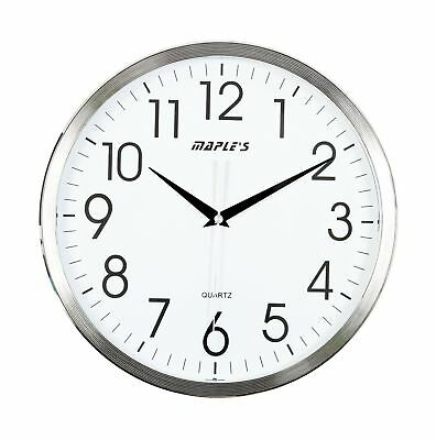 Maple's 13-Inch Wall Clock, White Face with Chrome Bezel