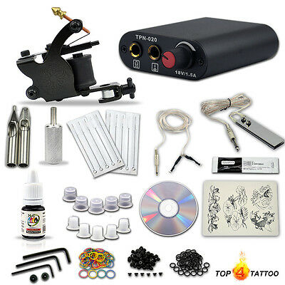 Complete tattoo machine gun kit black Ink Cord foot pedal Power Supply