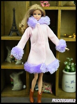 Barbie Doll Clothes BARGAIN - Pink & Purple Fur Trimmed Hooded Coat/Clothing