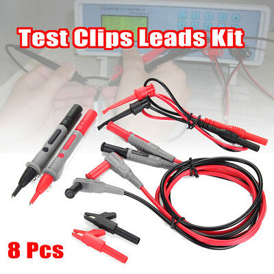 Test Clips Leads Kit Fluke Multimeter Heavy Duty Banana Tester Probe Set Of 8pc