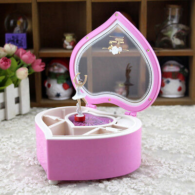 Rotary Classical Ballerina Girl Heart Music Box Dancing Ballerina Musical Gift