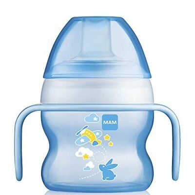 MAM Starter Cup with Handles, Boy, Non-Slip Handles, Spill Free 5 Ounces 1-Count