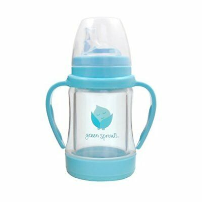 Green Sprouts Glass Sip 'n Straw Cup, Non-slip, Light Aqua, 4 Ounce