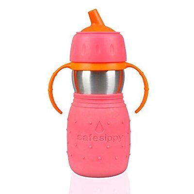 Kid Basix Safe Sippy Cup, The Original Stainless Steel Sippy Cup, Pink, 11 Ounce