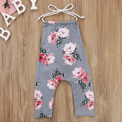 UK Stock Toddler Baby Kids Girls Summer Flower Romper Jumpsuit Outfits Clothes