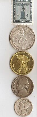 """-antq. *egyp. """"Cleopatra"""" coin  + *WWII *german SILVER  EAGLE coin/STAMP  ++.."""