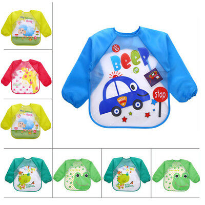 Infant Baby Waterproof Long Sleeve Bibs Apron-Cartoon Feeding Smock for 1-3 Y
