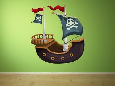 Pirate Ship Boat Cracked Wall Hole Brick Decal Art Sticker Decal Transfer P6B