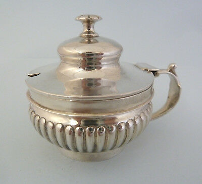 VICTORIAN Solid SILVER MUSTARD Pot with Blue Liner. London 1888 Francis Higgins