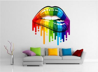 Rainbow Lips Makeup Lipstick Retro Guitar Paint Wall Art Sticker Decal Transfer