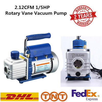 Rotary Vane Vacuum Pump 2.12CFM 1/5HP Single Stage Air Conditioning Refrigerator