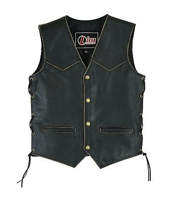 Children's Kids Real Leather biker motorcycle vest with lace up sides