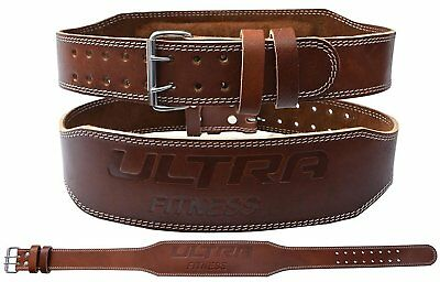 """ULTRA FITNESS® 4"""" 100% Real Leather Weight Lifting Belt Double Prong Back Gym"""