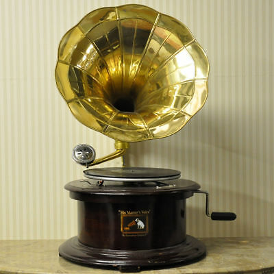 Round Gramophone With Brass Horn Home Decor Gramophone