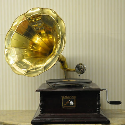 square Gramophone With Brass Horn Home Decor Gramophone