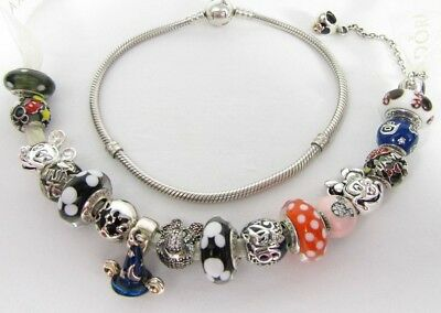 Mickey and Minnie Mouse Pandora Complete Charm Bracelet S925 ALE