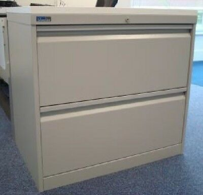 2 Drawer Silverline Side Filing Lateral Filing Cabinet Grey Metal With White **