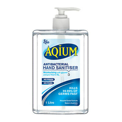 NEW Ego Hand Sanitiser Aqium Antibacterial Gel 1L First Aid Hand Sanitisers
