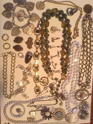 Vintage Estate Found Jewelry Lot 40 PCS Necklaces Pins Earrings Ring Variety 633