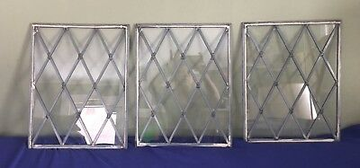 Vintage Leaded Glass Window Panes Diamond Pattern Architectural Salvage Lot 3