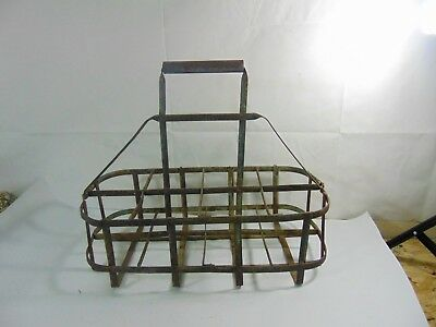 Rare Antique Metal Wire Dairy Milk 8  Bottle Delivery Carrier Holder Tote / NR