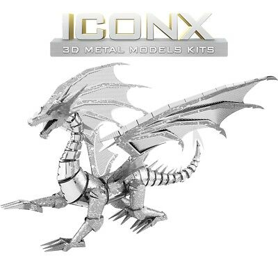 Fascinations Metal Earth ICONX Silver Dragon Laser Cut 3D Model