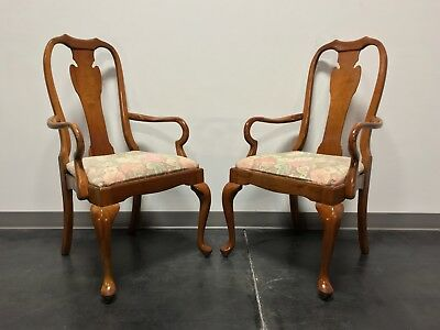 HARDEN Solid Cherry Queen Anne Dining Arm Chairs in Champagne Finish - Pair