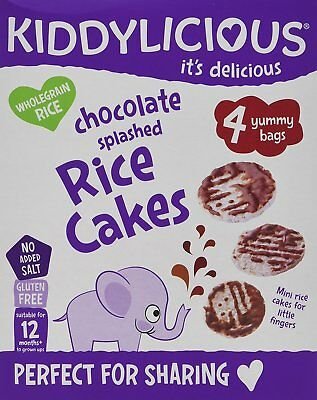 Kiddylicious Chocolate Splashed Rice Cakes, Pack of 4, Total 16