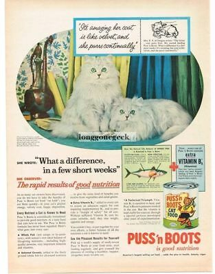 1956 PUSS 'N BOOTS Cat Food White Persians Vtg Print Ad