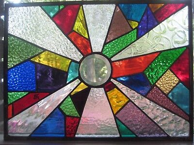 Stained glass panel window rainbow glass and clear textures