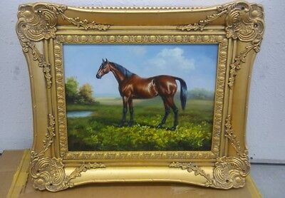 Framed horse oil painting artist unknown - signed