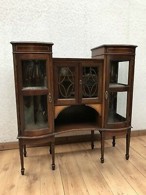 Edwardian Mahogany Inlaid Display Side Cabinet