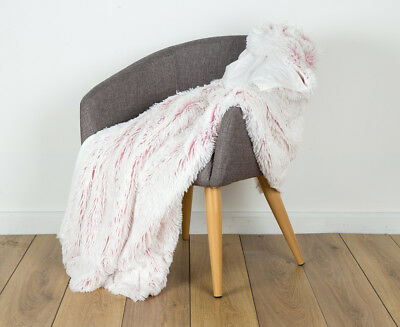 IDC 125x150cm Shaggy Two Toned Fur Throw - Pink