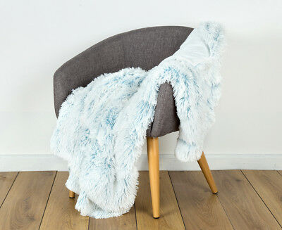 IDC 125x150cm Shaggy Two Toned Fur Throw - Light Blue