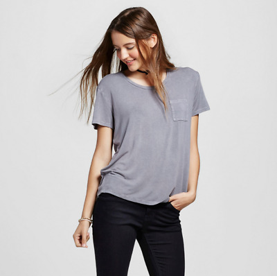 df59616a6397 NEW 2Pcs Mossimo Supply Co Womens Short Sleeve Softest Crew T-Shirt Gray  White L