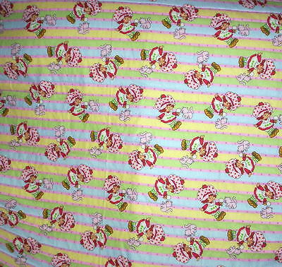 HOMEMADE BABY QUILT   Strawberry Shortcake Girl with KItten  Bright colors