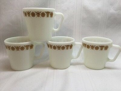 4 Vintage Pyrex Butterfly Gold Coffee Mugs Cups D Handle Corning Corelle. S11