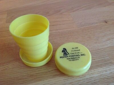 Vintage Plastic travel cup collapsible Pontiac dealer Advertising New Holland PA